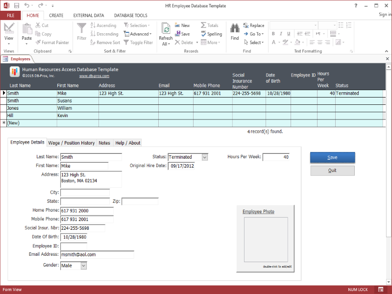 HR Employee MS Access Database Template 2.2.0