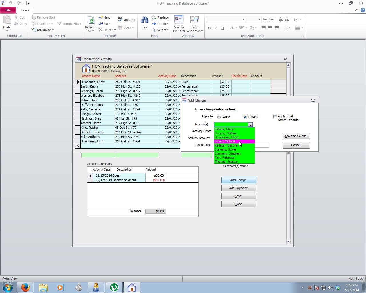 HOA Database Software Dues Screenshot