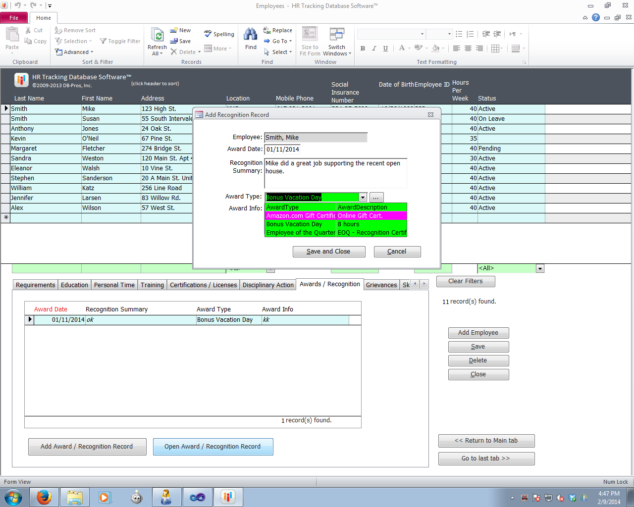 Db Pros Com Hr Tracking Database Software Screenshots By Inc