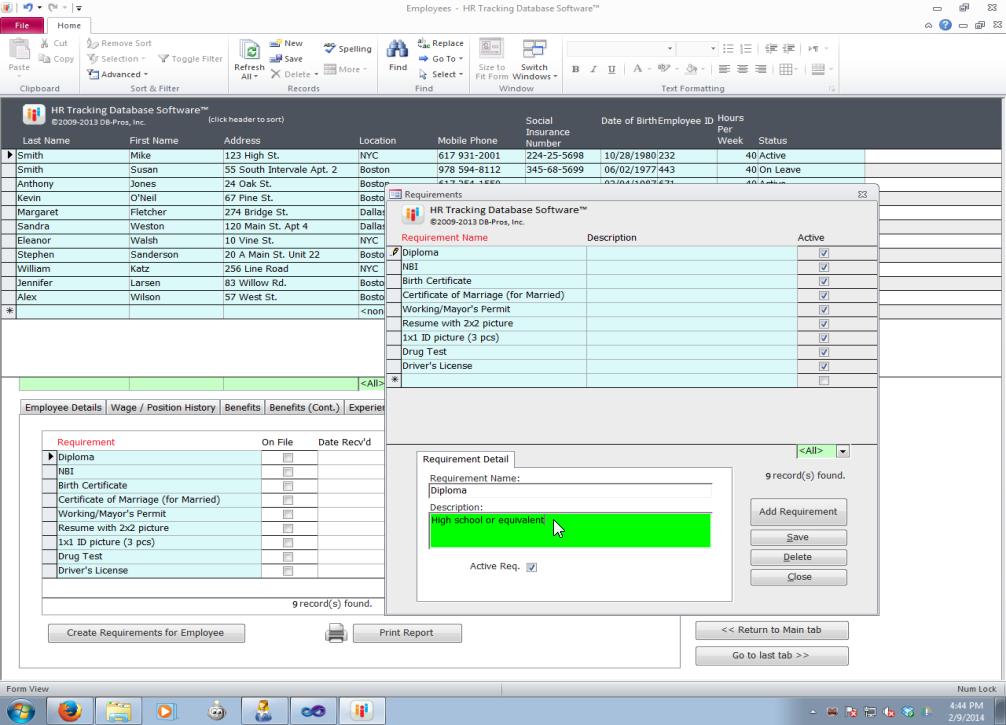human resource management database
