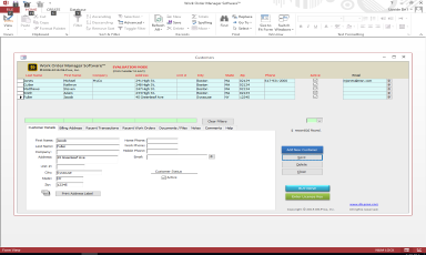 Work Order Management ™ - Database System Screenshot