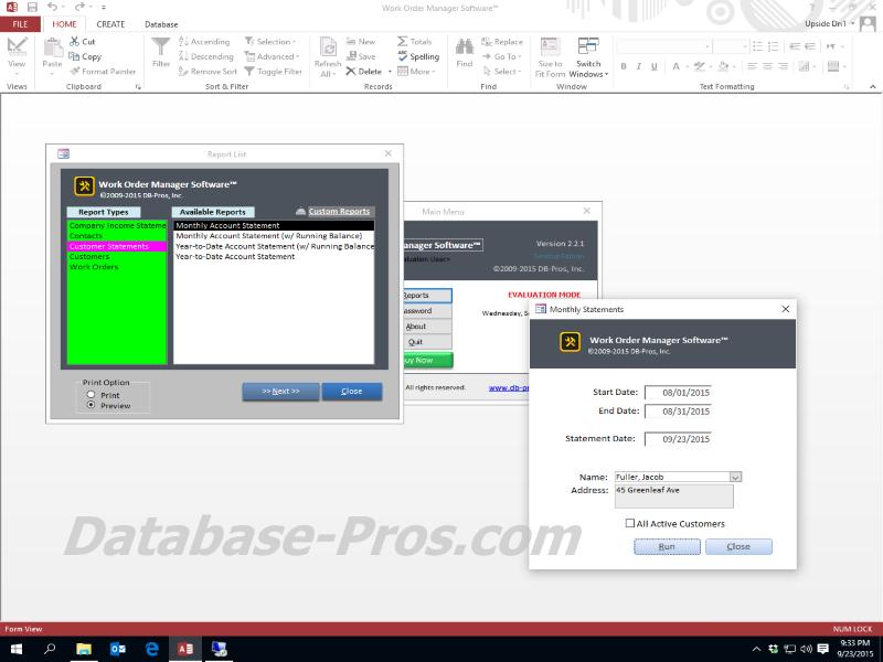 Work Order Database Software